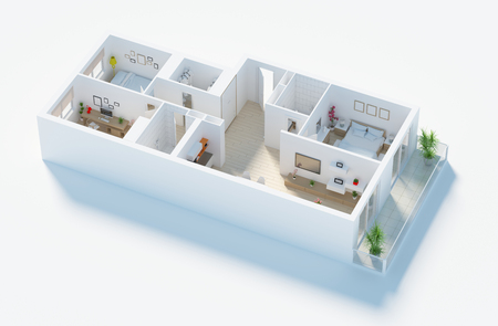 Furnished home apartment 3d render