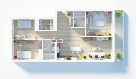 Furnished home apartment top view 3d render 스톡 콘텐츠