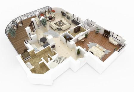 가구가 비치 된 아파트의 3D 모델
