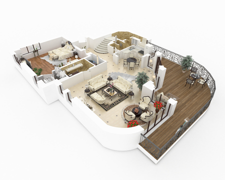 3d model of furnished home apartment Stock Photo
