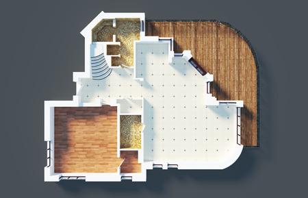 빈 주택 아파트의 3D 모델
