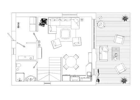 Floor plan sketch Stock Photo