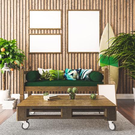 Tropical interior, Hawaiian style 3d render