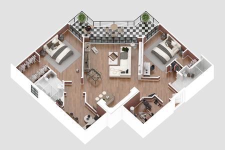Floor Plan Of A House Top View 48D Illustration Open Concept Stock Unique Apartment Designer Online Model