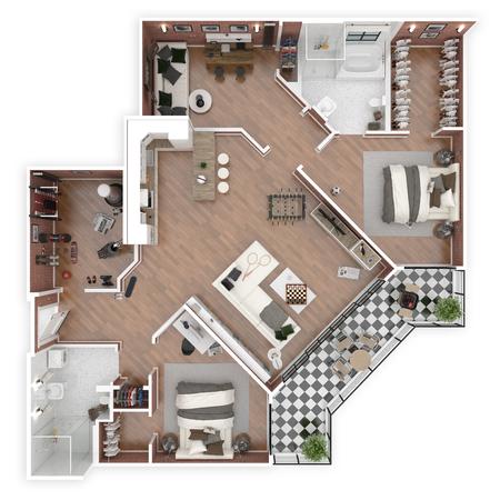 ハウストップビュー3Dイラストの平面図。オープンコンセプトリビングアパートレイアウト