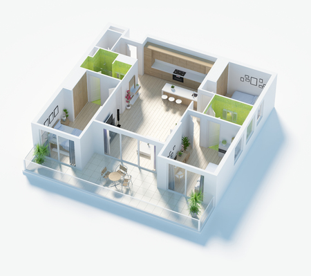 Floor plan of a house top view 3D illustration. Open concept living apartment layout 版權商用圖片 - 93059855