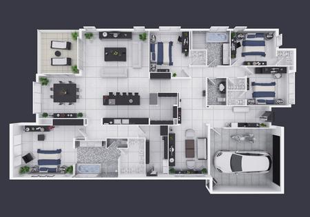 Grundriss einer Draufsicht 3D des Hauses Draufsicht. Offenes Konzept Wohn-Apartment-Layout