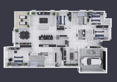 Floor plan of a house top view 3D illustration. Open concept living apartment layout