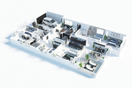 Floor plan of a house top view 3D illustration. Open concept living apartment layout 版權商用圖片 - 94020455