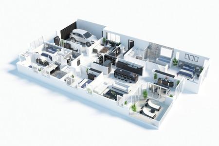 Plattegrond van een 3D-afbeelding van een huis bovenaanzicht. Open concept lay-out van het woonappartement
