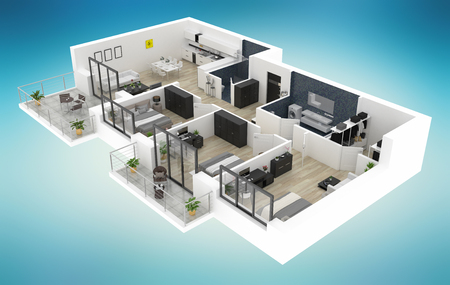 Piante Da Appartamento 3d.Foto Casa Rendering Immagini E Vettoriali