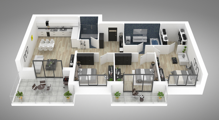 Pianta di un'illustrazione di vista superiore 3D della casa. Disposizione dell'appartamento vivente di concetto aperto Archivio Fotografico - 94137588