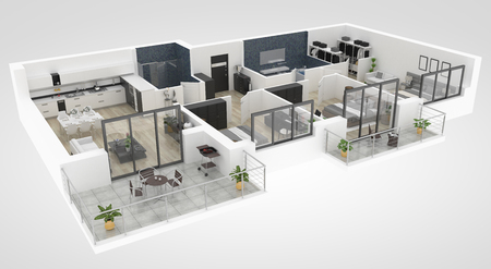 Pianta di un'illustrazione di vista superiore 3D della casa. Disposizione dell'appartamento vivente di concetto aperto Archivio Fotografico - 94137590