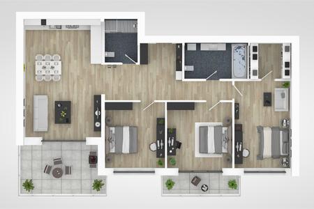 Plattegrond van een 3D illustratie van de huis hoogste mening. Indeling woonappartement met open concept Stockfoto