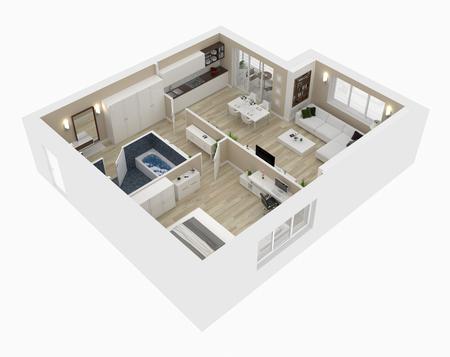 ハウストップビュー3Dイラストの平面図。オープンコンセプトリビングアパルトメントレイアウト 写真素材
