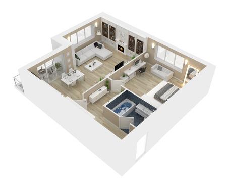 Grundriss einer Illustration der Draufsicht 3D des Hauses. Offenes Konzept Wohnraumaufteilung