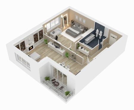 Pianta di un'illustrazione di vista superiore 3D della casa. Disposizione dell'appartamento vivente di concetto aperto
