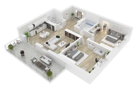 平面図の最上位図。白い背景に隔離されたアパートのインテリア。3D レンダリング