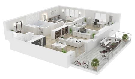 Vue de dessus de toit . appartement intérieur isolé sur fond blanc. rendu 3d Banque d'images - 94299428
