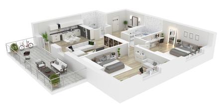 Vue de dessus de toit . appartement intérieur isolé sur fond blanc. rendu 3d Banque d'images - 94299429
