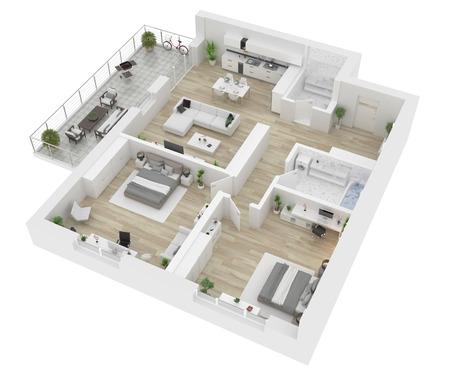 Vue de dessus de toit . appartement intérieur isolé sur fond blanc. rendu 3d Banque d'images - 94299430