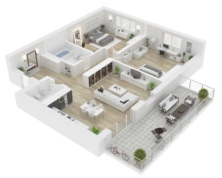 Vue de dessus de toit . appartement intérieur isolé sur fond blanc. rendu 3d Banque d'images - 94299431