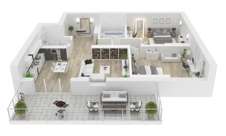 Vista dall'alto della pianta. Interno dell'appartamento isolato su fondo bianco. Rendering 3D Archivio Fotografico - 94299433
