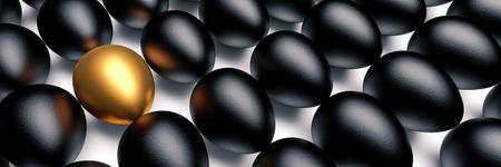 Golden egg among the black eggs. Concept of luxury. 3D illustration