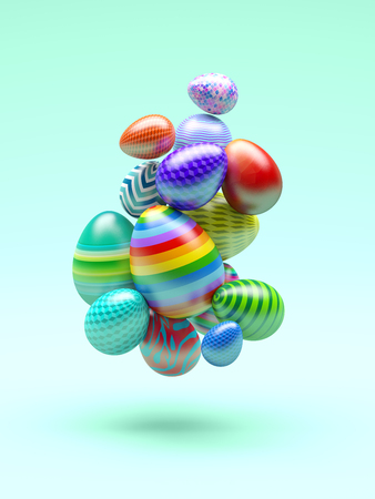 Easter Eggs Abstract Bacground. 3d Illustration