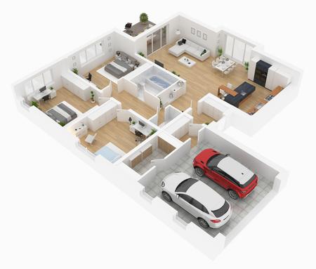 Vue de dessus de toit . appartement intérieur isolé sur fond blanc. rendu 3d Banque d'images - 95209563