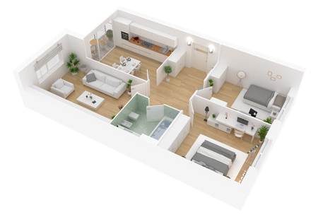 Floor plan top view. Apartment interior isolated on white background. 3D render Banque d'images - 95481126