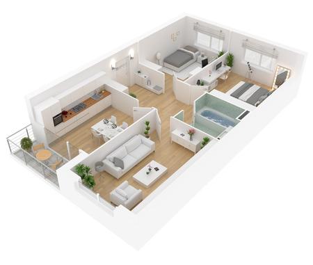 Vue de dessus du plan d'étage. Intérieur de l'appartement isolé sur fond blanc. Rendu 3D Banque d'images - 95389128