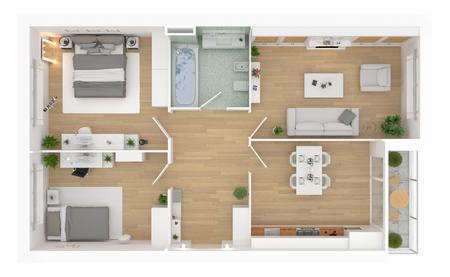 Vista dall'alto della pianta. Interno dell'appartamento isolato su fondo bianco. Rendering 3D Archivio Fotografico - 95364066