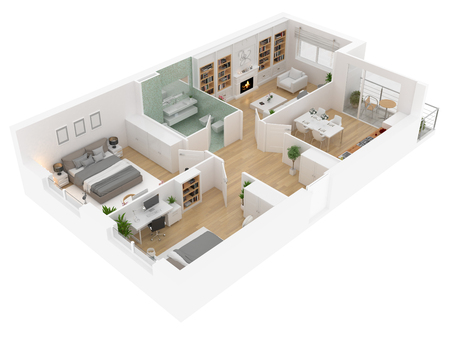 Floor plan top view. Apartment interior isolated on white background. 3D render