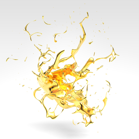 Gold Splash 3d illustration