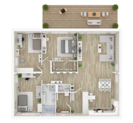 Vue de dessus de toit . appartement intérieur isolé sur fond blanc. rendu 3d Banque d'images - 96173733