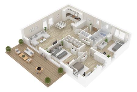 Vista dall'alto della pianta. Interno dell'appartamento isolato su fondo bianco. Rendering 3D Archivio Fotografico