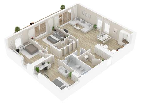 Vue de dessus de toit . appartement intérieur isolé sur fond blanc. rendu 3d Banque d'images - 96173735
