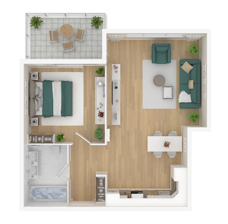 Floor plan top view. Apartment interior isolated on white background. 3D render Foto de archivo - 96766647