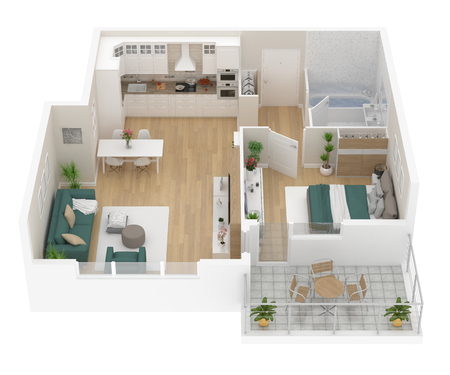 Floor plan top view. Apartment interior isolated on white background. 3D render Banque d'images - 96764842