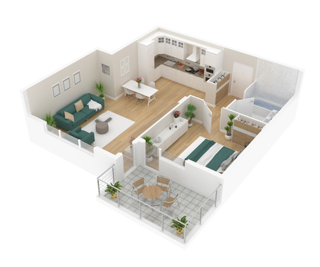 Floor plan top view. Apartment interior isolated on white background. 3D render Banque d'images - 96856029