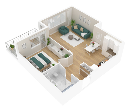 Floor plan top view. Apartment interior isolated on white background. 3D render Banque d'images - 96766656