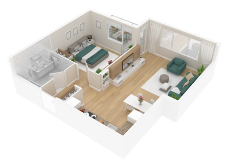 Floor plan top view. Apartment interior isolated on white background. 3D render Banque d'images - 96688043