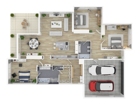 Floor plan of a house top view 3D illustration. Open concept living house layout