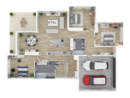 Piano di un piano di vista superiore casa 3d casa aperta . Concetto di casa di eventi Archivio Fotografico - 97001382
