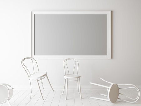 White chairs and empty frame in a room. 3d rendering,unemployment mock up Stock Photo