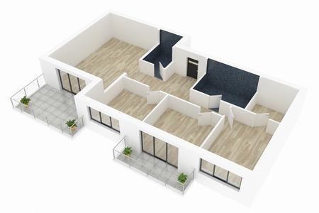 Modell 3d der leeren Hauptwohnung