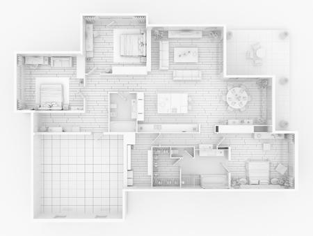 Mock up of furnished home apartment, paper model