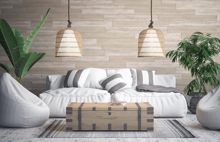 Tropical interior background, 3D render