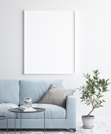 Mock up poster frame in interior background, scandinavian style, 3D render